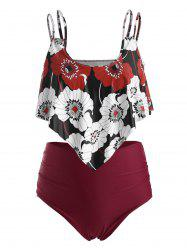 Plus Size Floral Print High Waist Overlay Tankini Swimsuit -