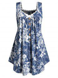 Plus Size Flower Print Bowknot Button Embellished Tank Top -