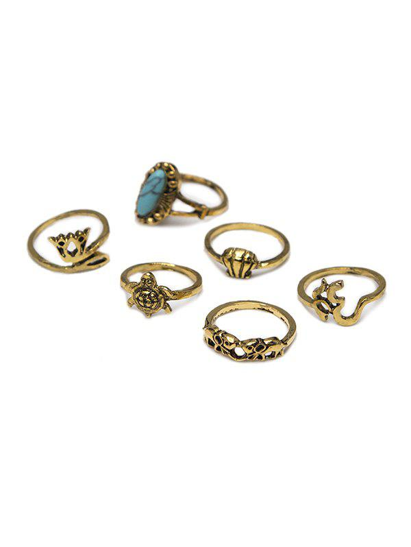 Hot 6 Piece Ethnic Crown Turtle Shell Elephant Ring Set