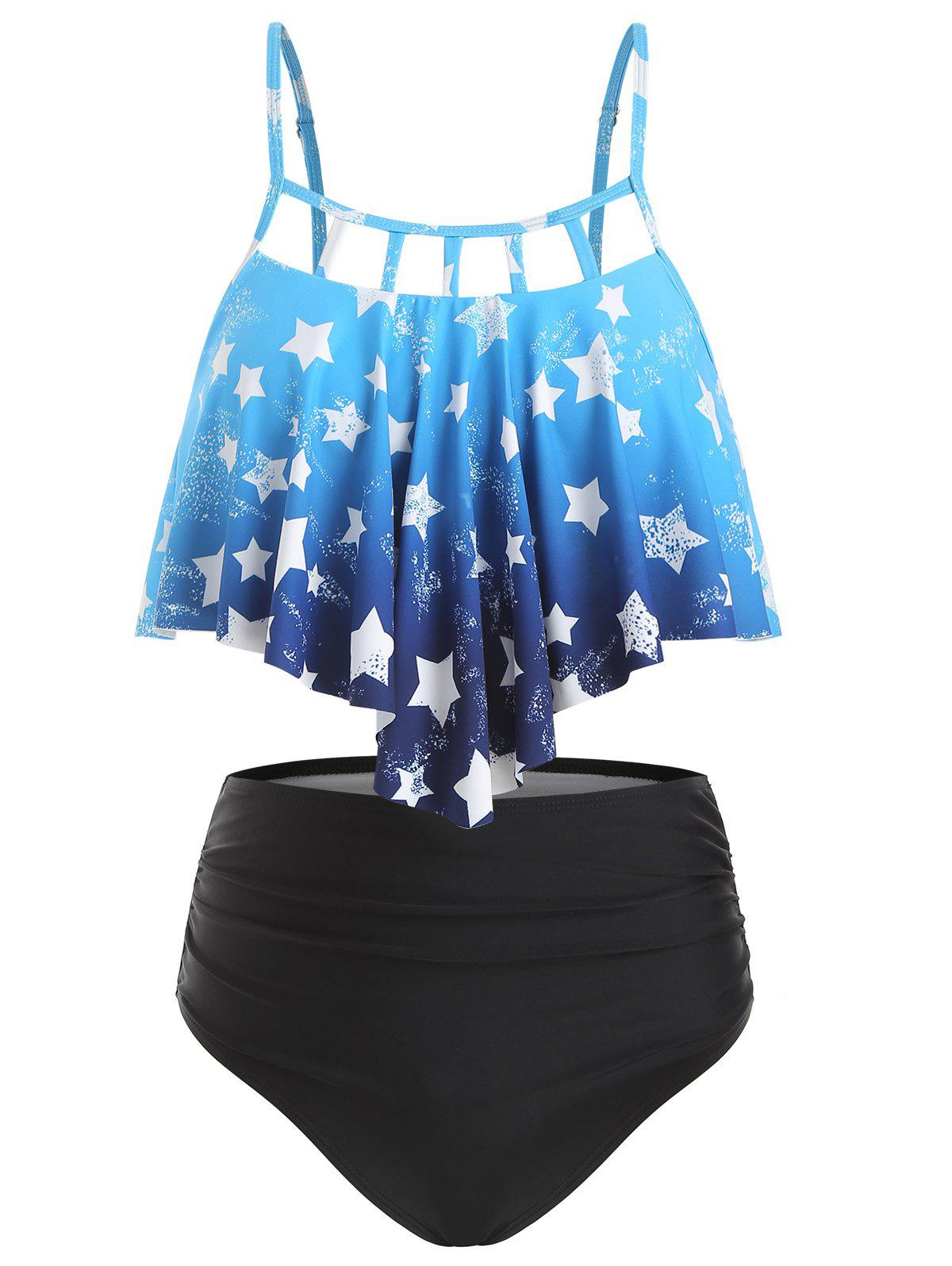 Affordable Star Print Ombre Overlay Tankini Swimsuit