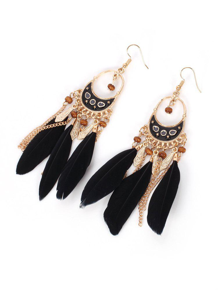 Outfit Ethnic Feather Fringe Beads Dangle Earrings
