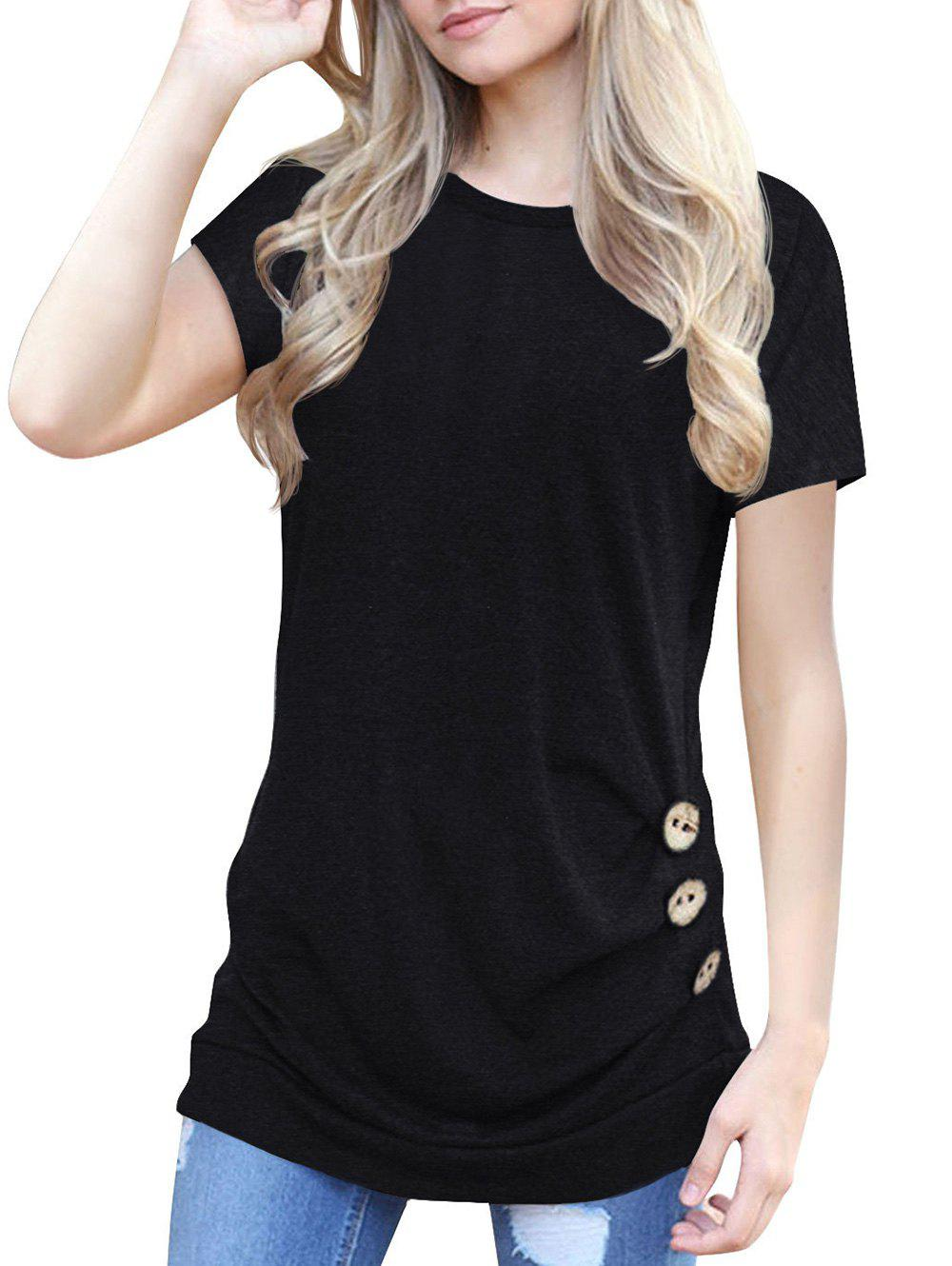 Shop Buttons Round Neck Marled Tee