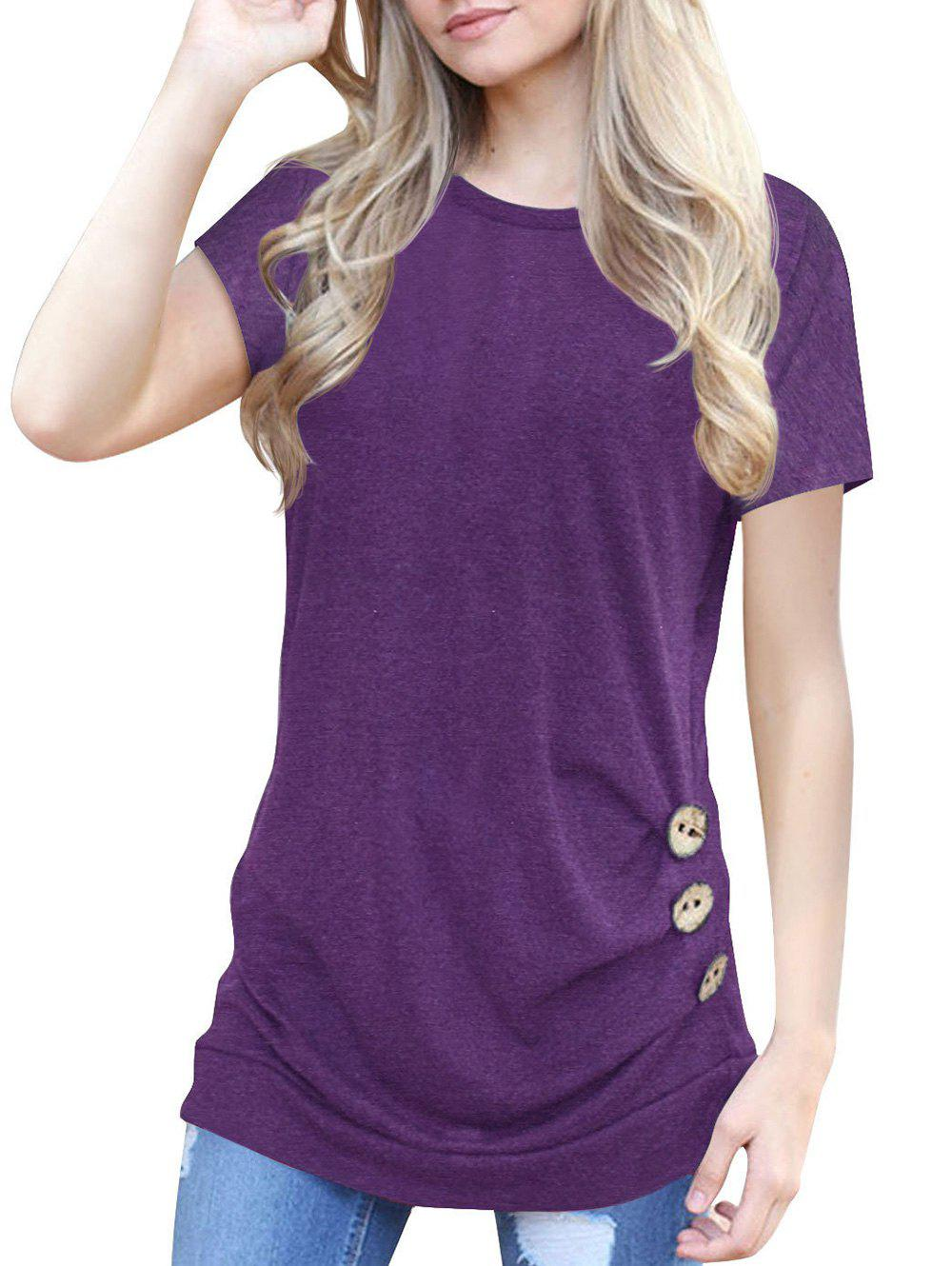 Outfits Buttons Round Neck Marled Tee