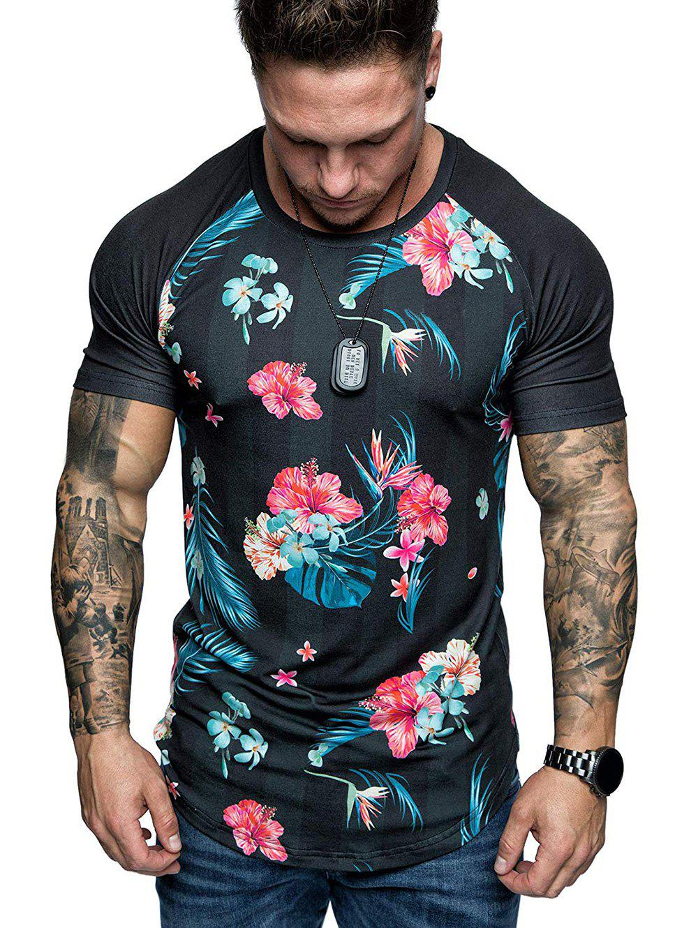 Chic Curved Hem Flower Tropical Print Raglan Sleeve T-shirt
