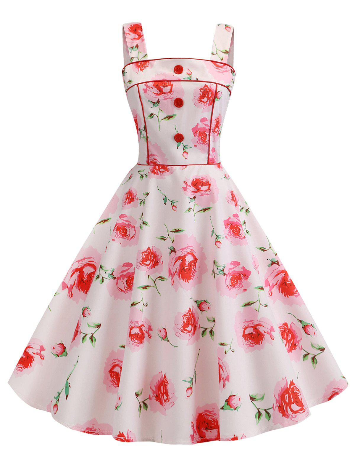 Best Floral Square Neck Button Embellished Dress