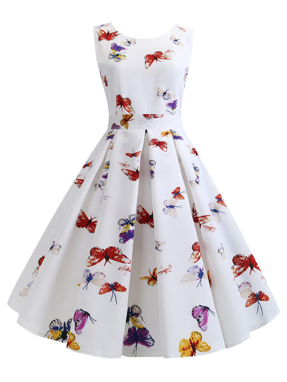 Shops Butterfly Print Belted Party Dress