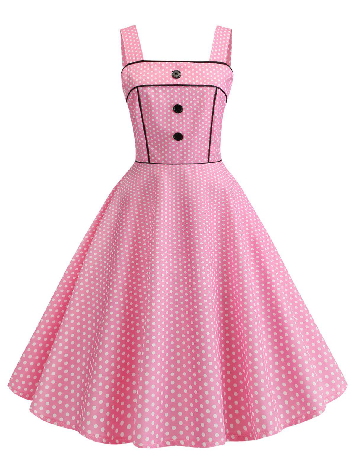 Online Polka Dot Square Neck Party Dress