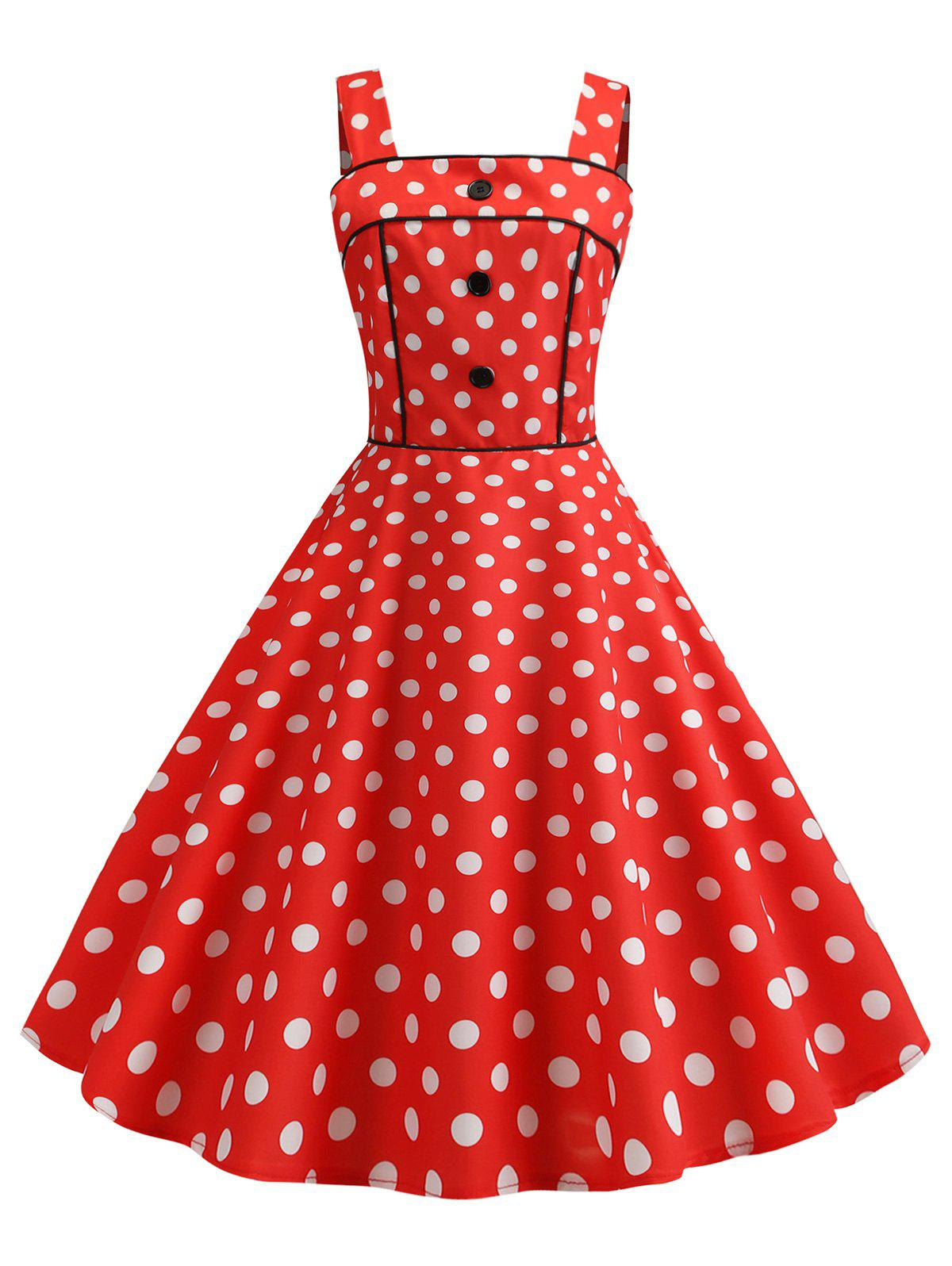 Hot Polka Dot Square Neck Party Dress