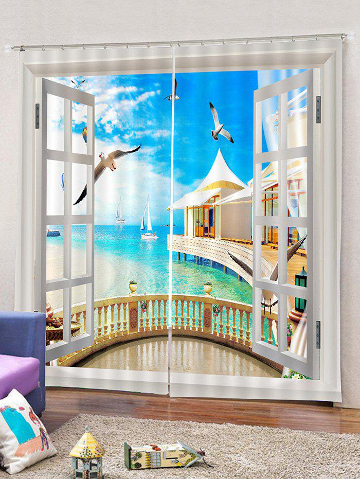 Outfit 2PCS Window Seagulls Sky Window Curtains