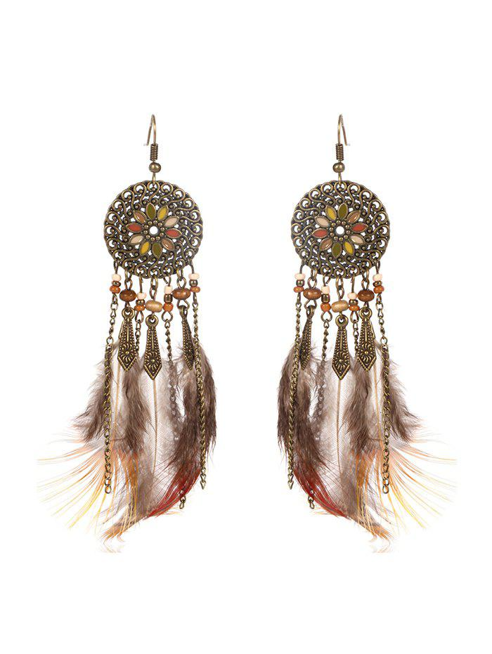 Shops Feather Fringe Hollow Round Vintage Earrings