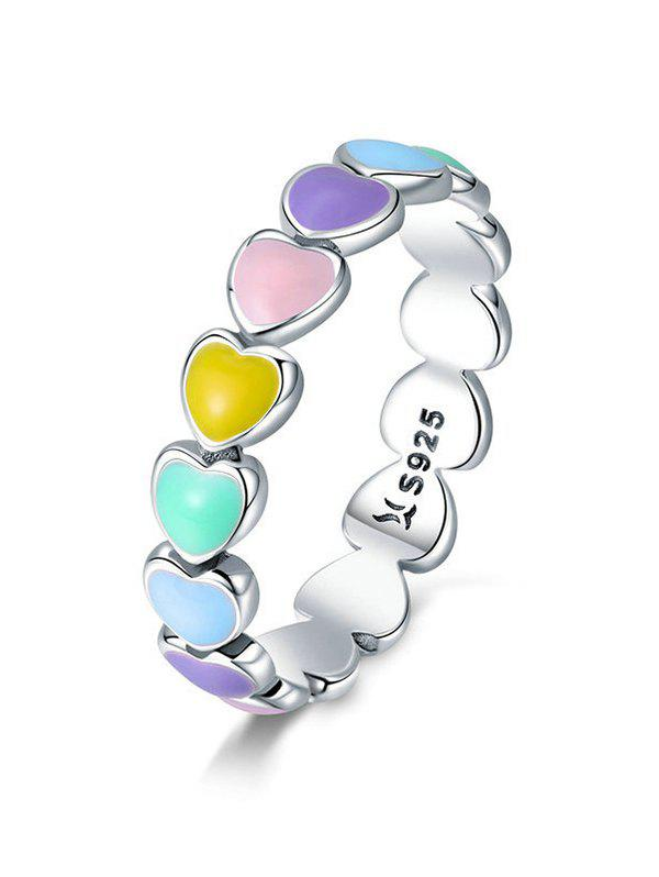 Online Colorful Love Heart Shape 925 Silver Ring