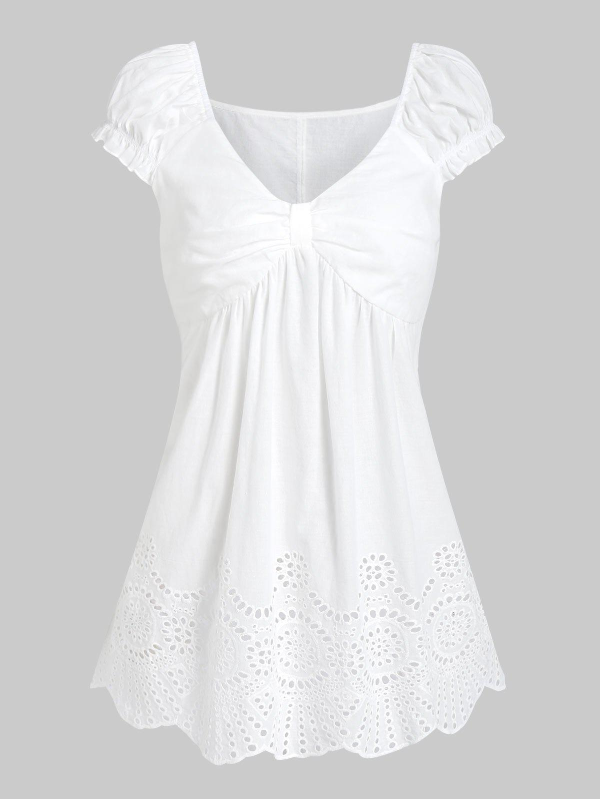 Hot Ruched Broderie Anglaise Flare T-shirt