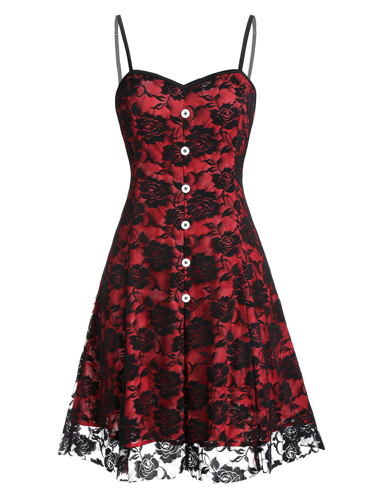 Hot Buttoned Flower Lace Mini Cami Dress