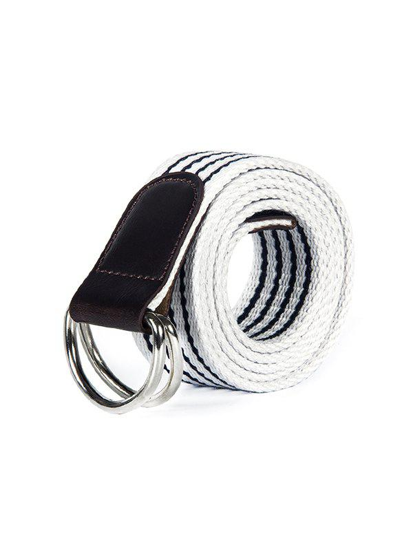 New Double Ring Buckle Canvas Knitted Striped Pattern Belt