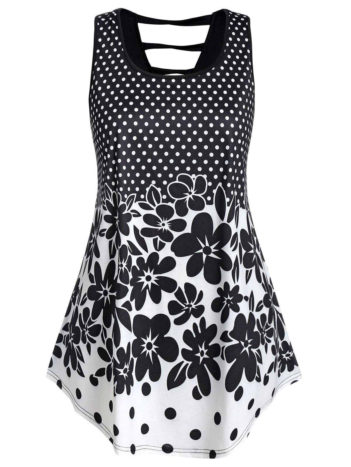 Plus Size Polka Dot and Floral Print Ladder Tank Top Rosegal