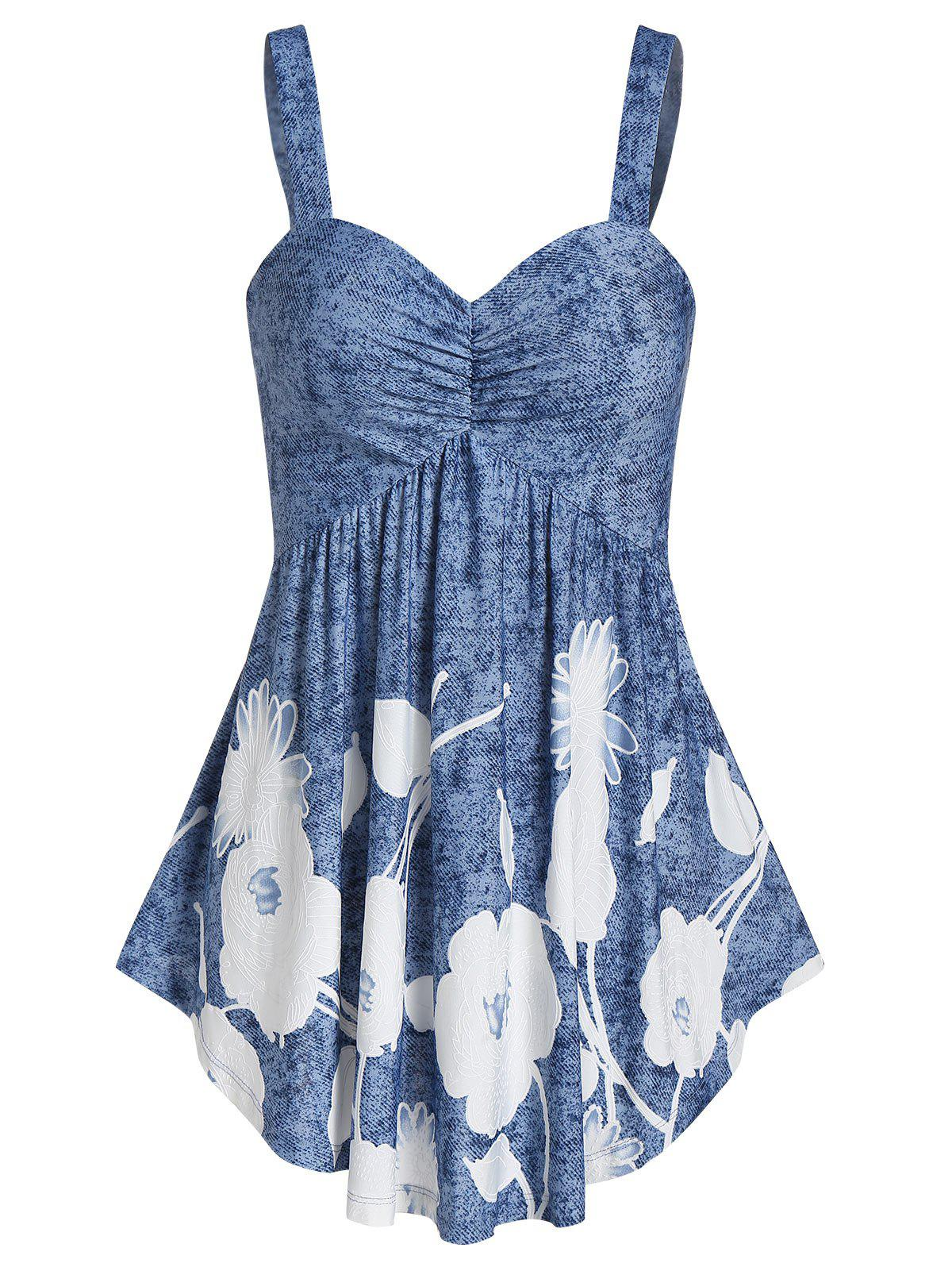 Unique Floral Print Sweetheart Collar Flare Tank Top