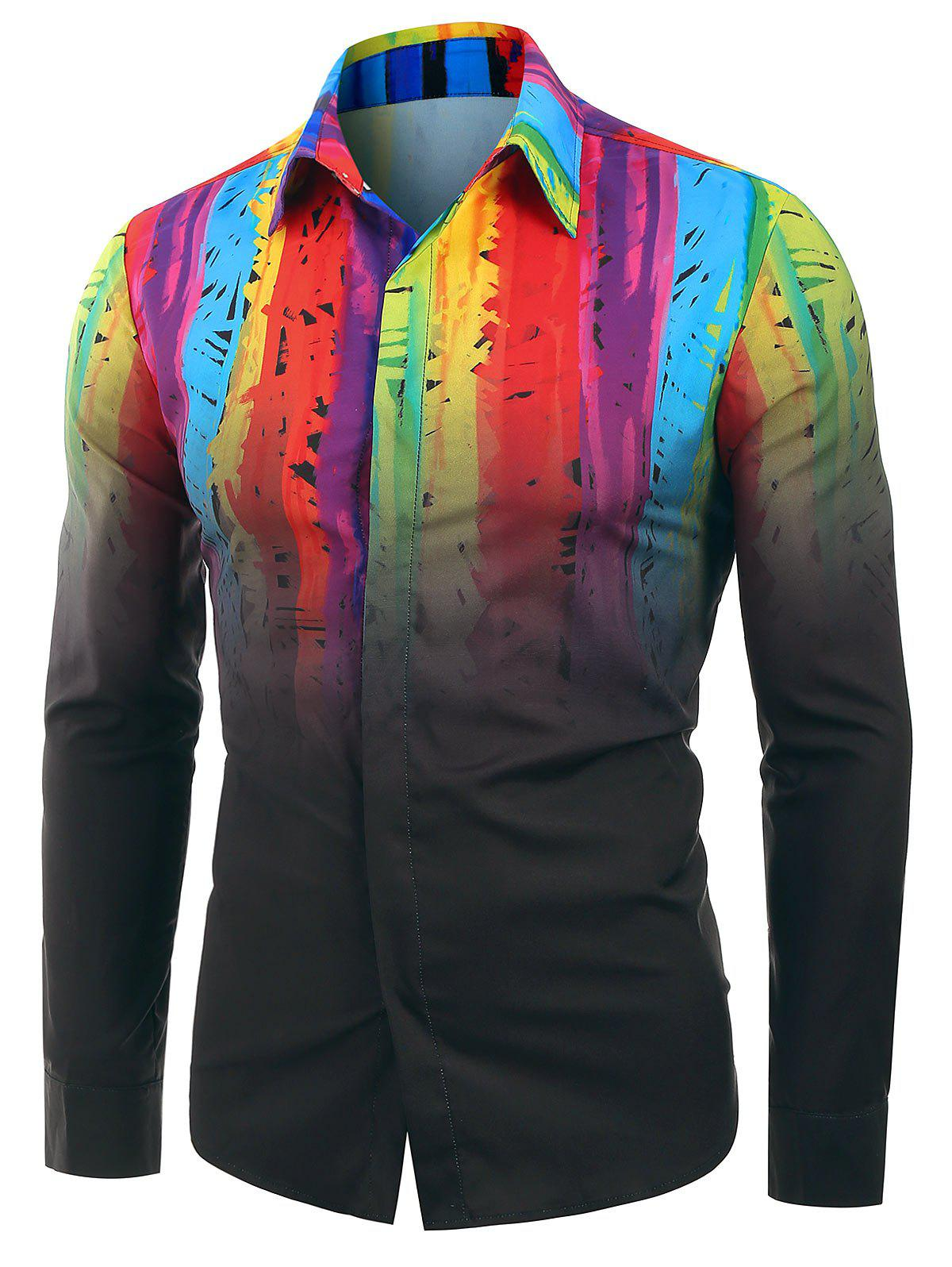 Shop Colorful Ombre Print Long Sleeves Shirt
