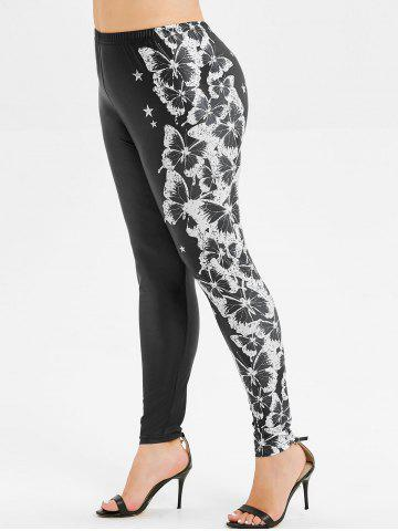 Plus Size High Rise Butterfly Print Leggings