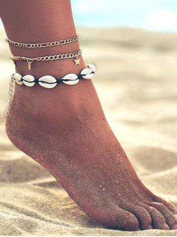 Shell Star Charm Chain Anklet Set