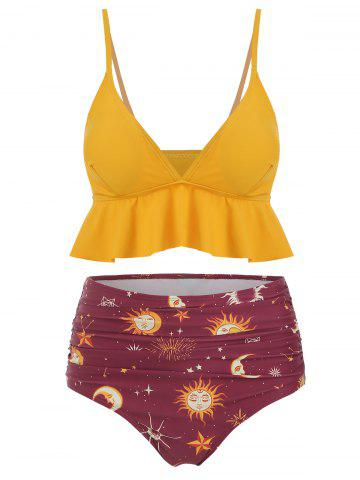 Flounce Sun Star Moon High Waisted Tankini Swimsuit