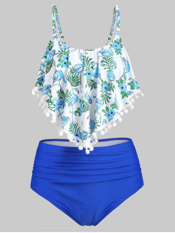 Pom-pom Leaf Flamingo High Waisted Tankini Swimsuit