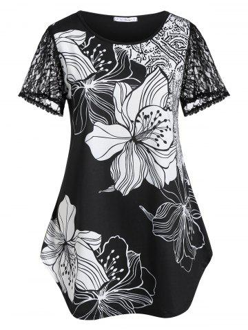 Plus Size Lace Sleeve Floral Curved T-shirt