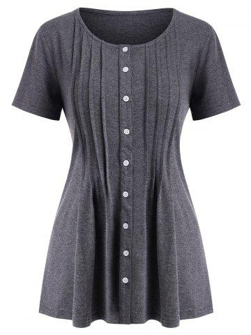 Button Up Pintuck Solid Tee