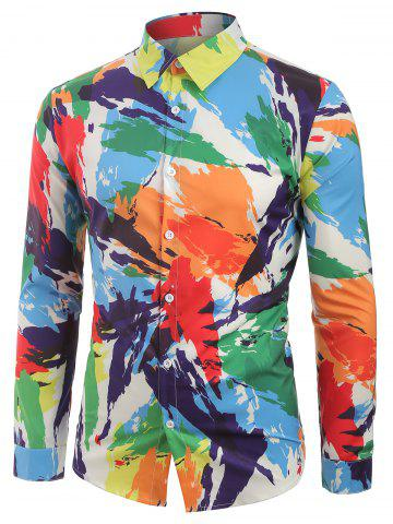 Long Sleeves Colorful Painting Print Shirt