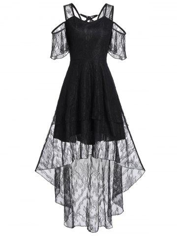 Asymmetrical Cold Shoulder Lace Up See Thru Dress