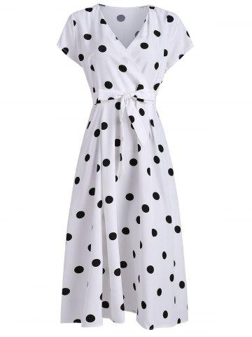 Plunging Polka Dot Midi Dress