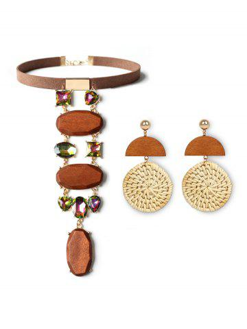 Wood Faux Crystal Weave Jewelry Set