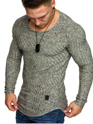 Solid Color Striped Spliced Long Sleeves T-shirt