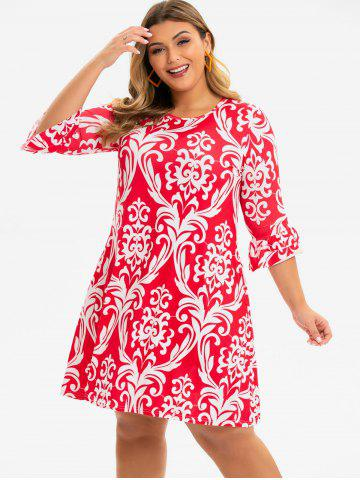 Plus Size Flounce Cuffs Printed Mini Dress
