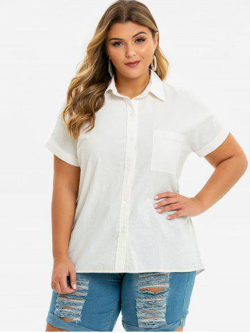 Button Down Cuffed Sleeve Front Pocket Plus Size Shirt