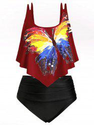 Ruched Ruffles Butterfly Graphic Plus Size Tankini Swimsuit -