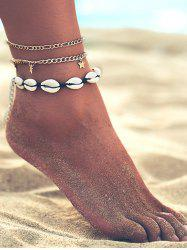 Shell Star Charm Chain Anklet Set -