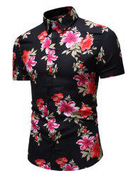 Floral Pattern Button Casual Shirt -