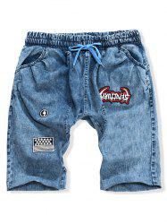 Letter Embroidery American Flag Design Casual Jean Shorts -