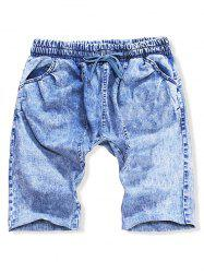 Multi-pocket Solid Color Drawstring Casual Jean Shorts -