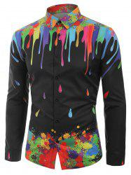 Water Drop Splatter Painting Print Long Sleeves Shirt -