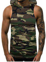 Camouflage Print Mesh Hooded Tank Top -