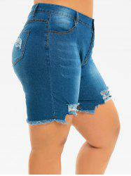 Plus Size Ripped Frayed Hem Bermuda Denim Shorts -