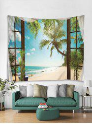 Trees in Window Print Art Decoration Wall Tapestry -