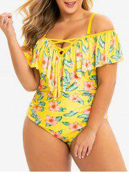 Cold Shoulder Plus Size Flower Flounce Swimsuit -