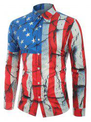 Cracked Patriotic American Flag Print Button Shirt -