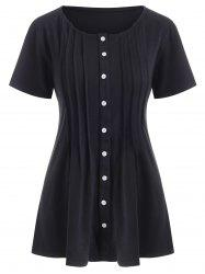 Button Up Pintuck Solid Tee -