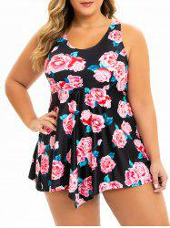 Plus Size Flower Empire Waist Skirted Tankini Swimwear -