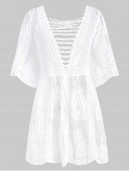 Lattice Crochet Longline Cover Up -