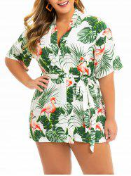 Plus Size Flamingo Leaf Kimono Dress -