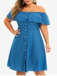 Plus Size Flounce Chambray Off The Shoulder Dress -